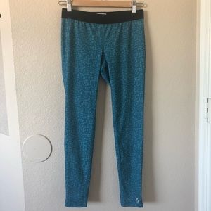 Soffe dri low rise fit turquoise pattern leggings
